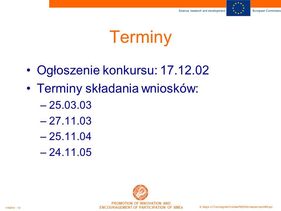 Terminy Ogłoszenie konkursu: 17.12.02 Terminy składania wniosków: