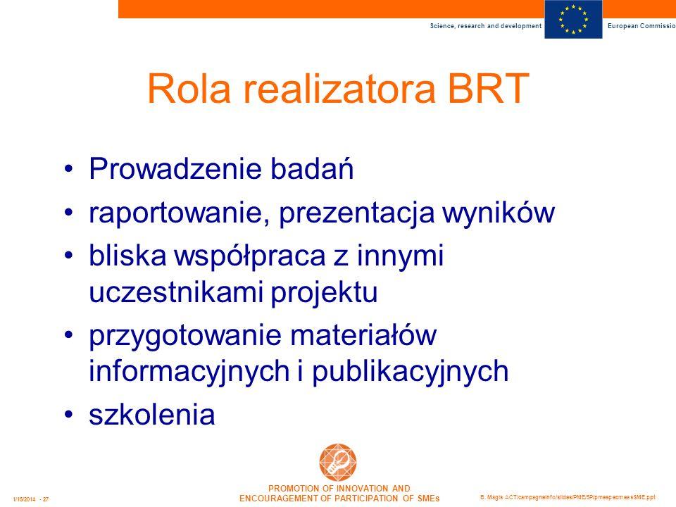 Rola realizatora BRT Prowadzenie badań