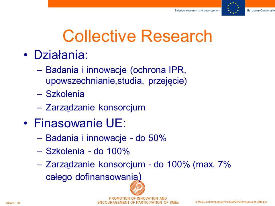Collective Research Działania: Finasowanie UE: