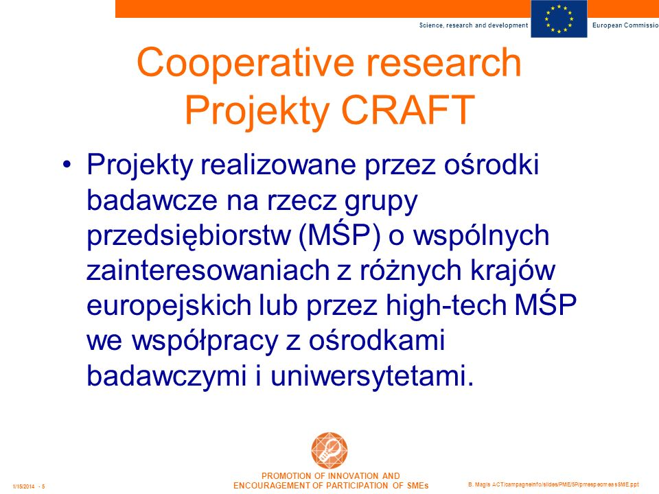 Cooperative research Projekty CRAFT