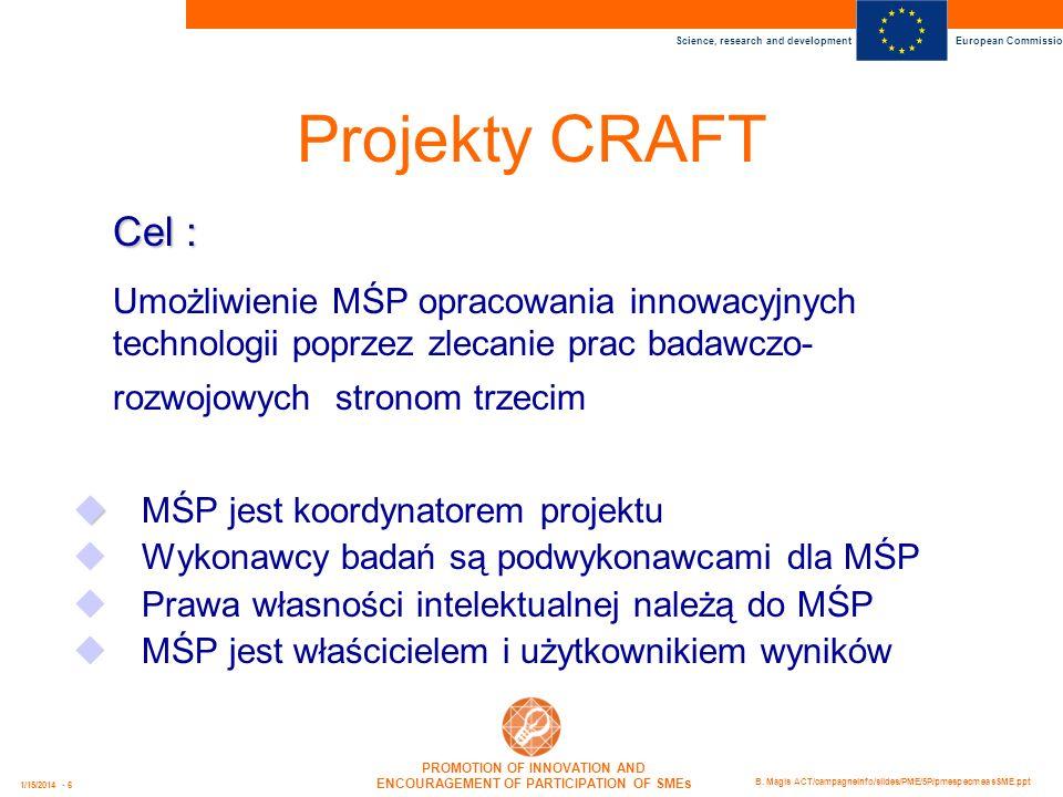 Projekty CRAFT Cel : Umożliwienie MŚP opracowania innowacyjnych technologii poprzez zlecanie prac badawczo-rozwojowych stronom trzecim.