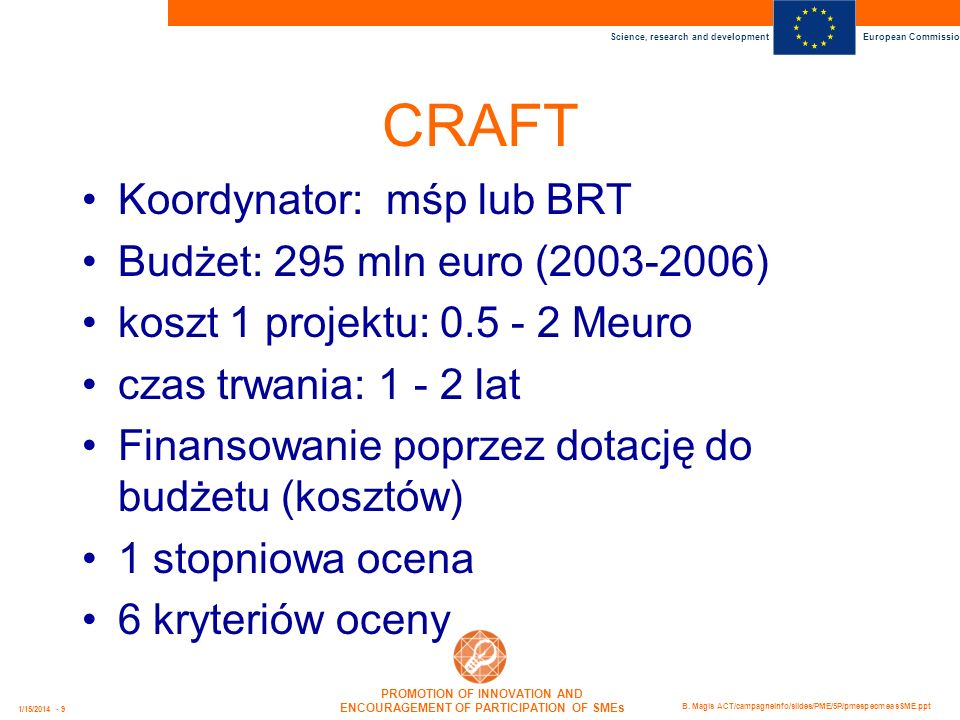 CRAFT Koordynator: mśp lub BRT Budżet: 295 mln euro (2003-2006)