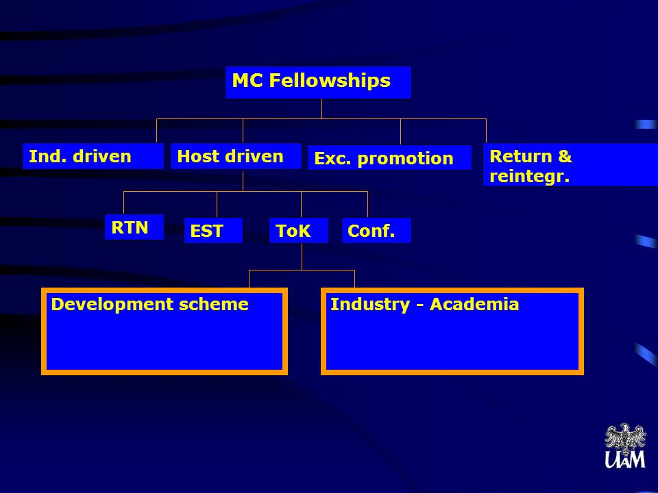 MC Fellowships Ind. driven Host driven Exc. promotion