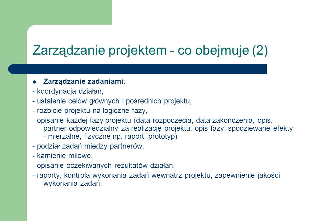 Zarządzanie projektem - co obejmuje (2)