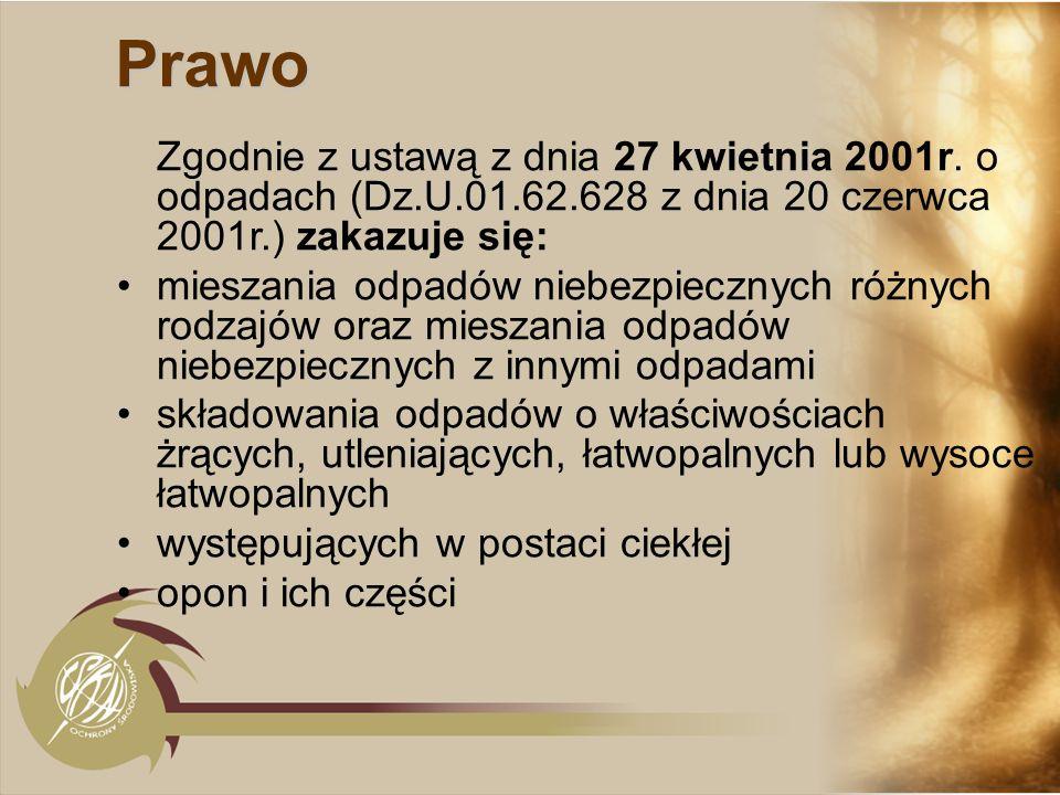 PrawoZgodnie z ustawą z dnia 27 kwietnia 2001r. o odpadach (Dz.U.01.62.628 z dnia 20 czerwca 2001r.) zakazuje się: