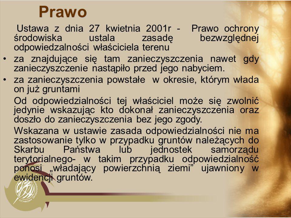 PrawoUstawa z dnia 27 kwietnia 2001r - Prawo ochrony środowiska ustala zasadę bezwzględnej odpowiedzalności właściciela terenu.