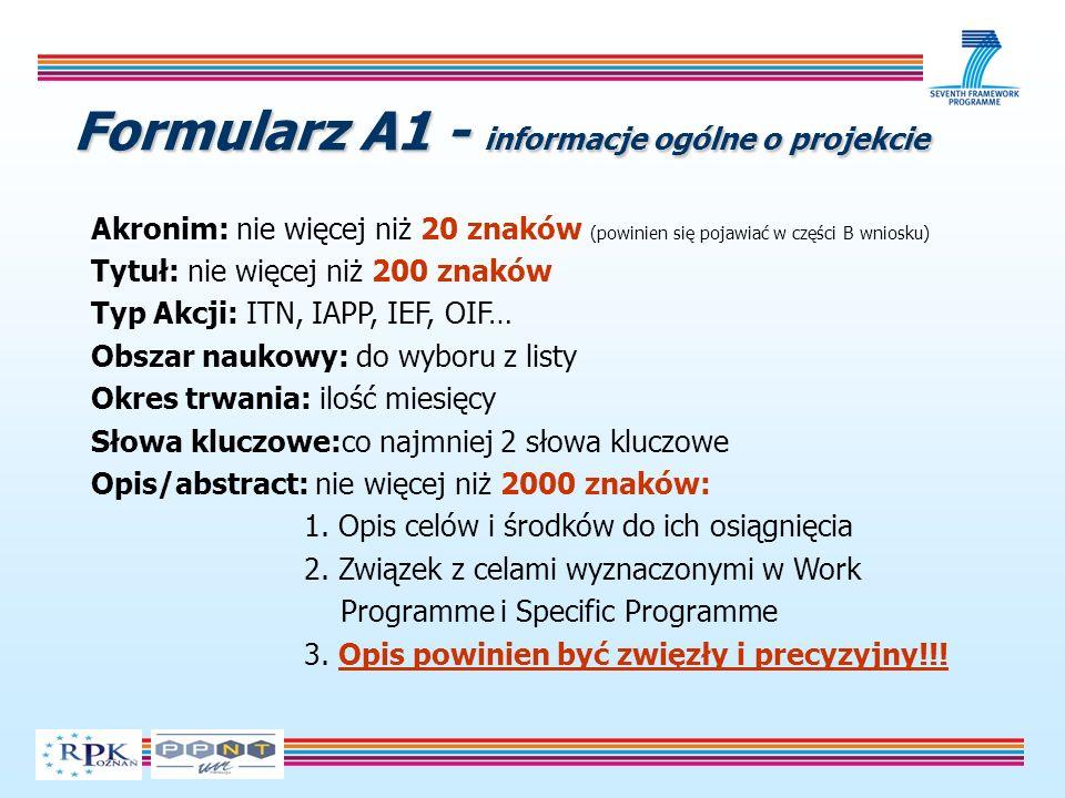 Formularz A1 - informacje ogólne o projekcie