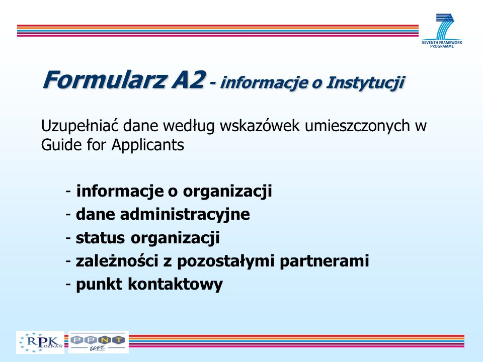Formularz A2 - informacje o Instytucji