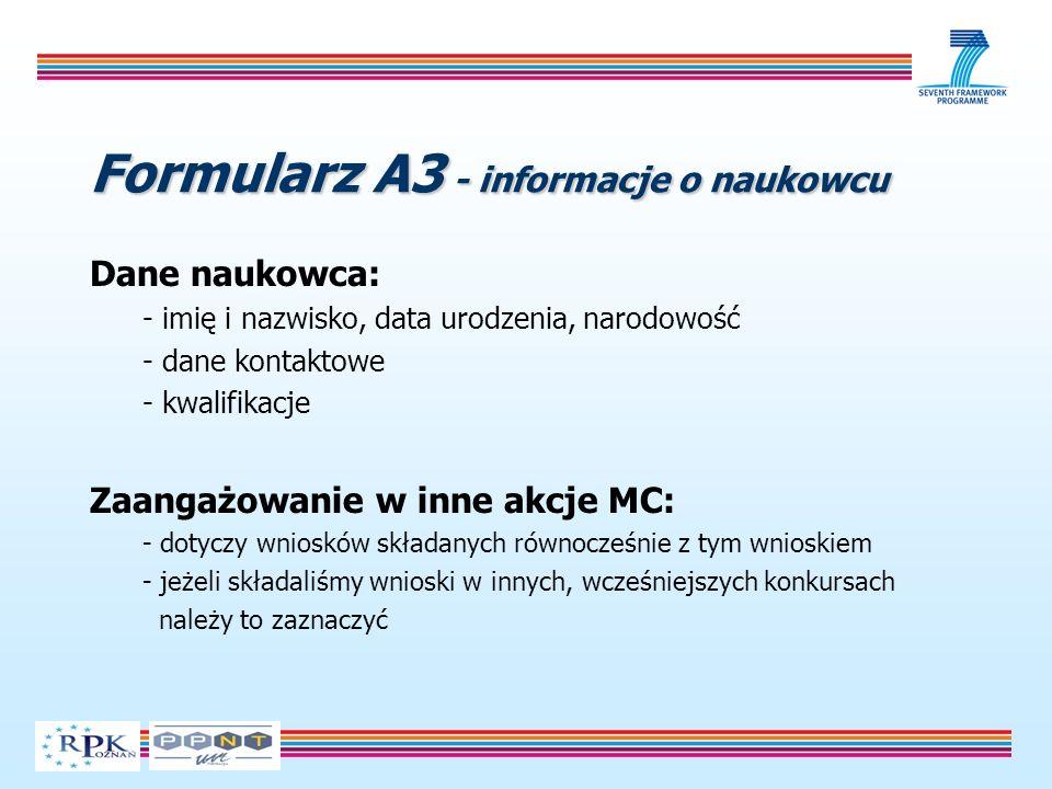 Formularz A3 - informacje o naukowcu