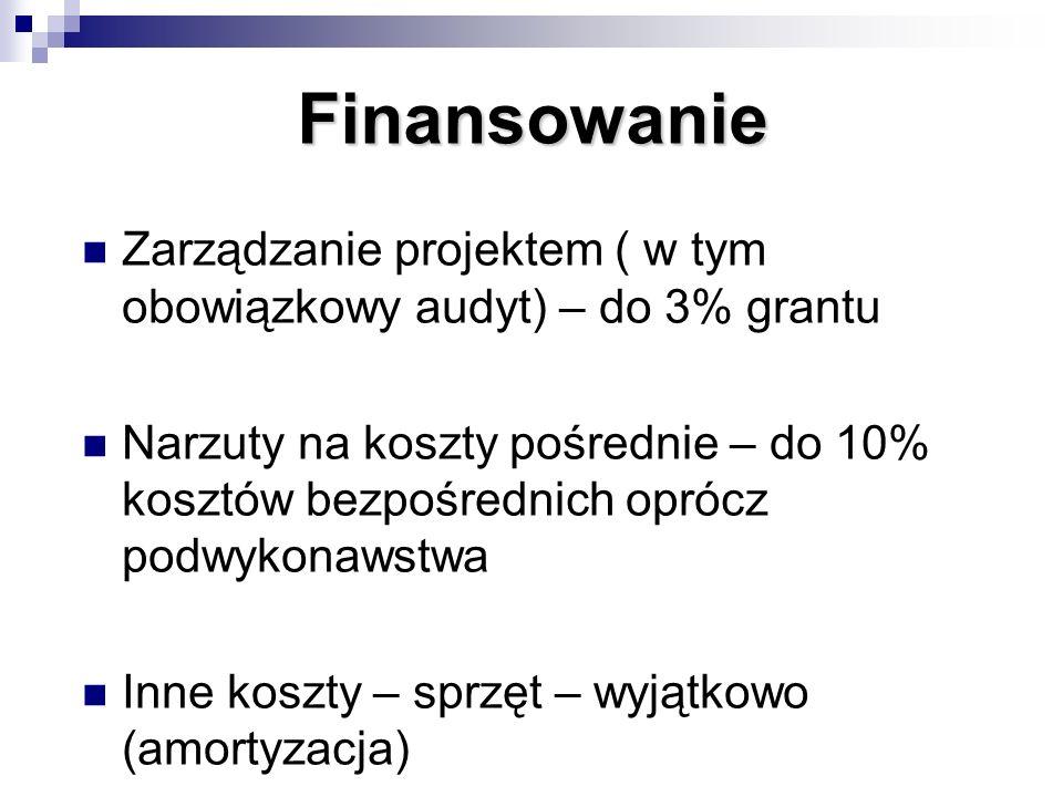 Finansowanie Zarządzanie projektem ( w tym obowiązkowy audyt) – do 3% grantu.