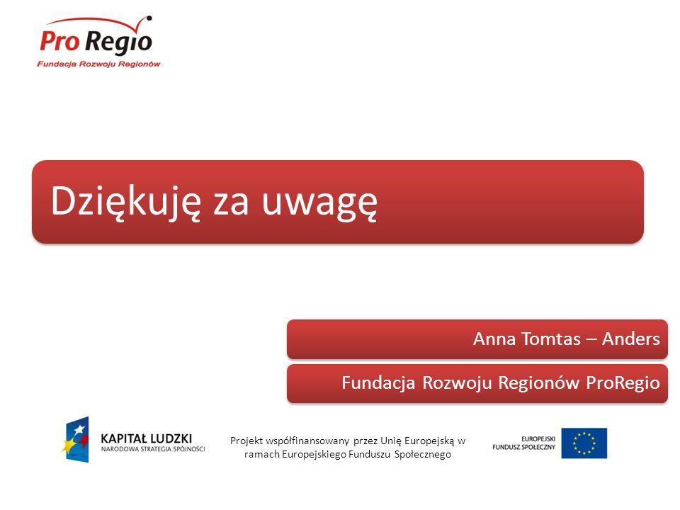 Dziękuję za uwagę Anna Tomtas – Anders. Fundacja Rozwoju Regionów ProRegio.