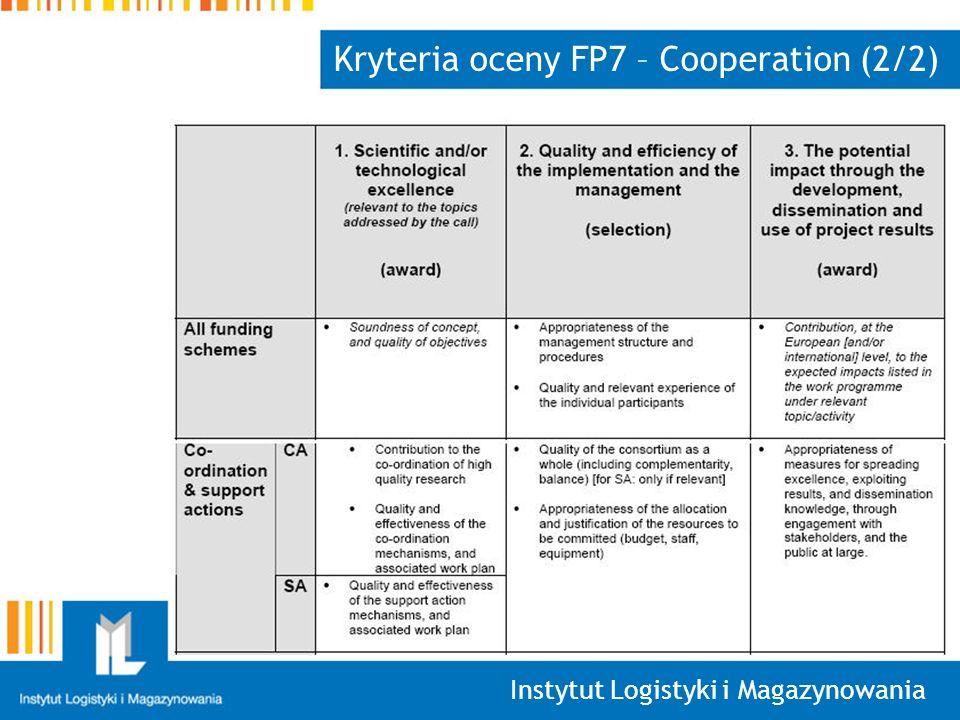 Kryteria oceny FP7 – Cooperation (2/2)