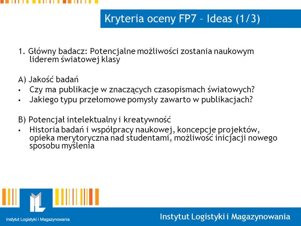 Kryteria oceny FP7 – Ideas (1/3)