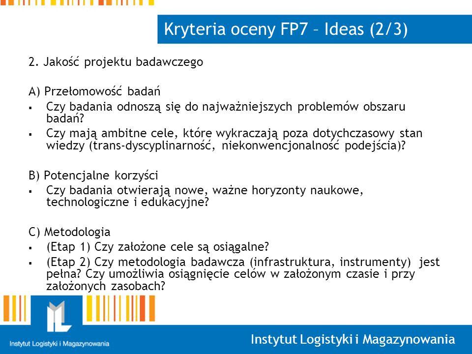 Kryteria oceny FP7 – Ideas (2/3)