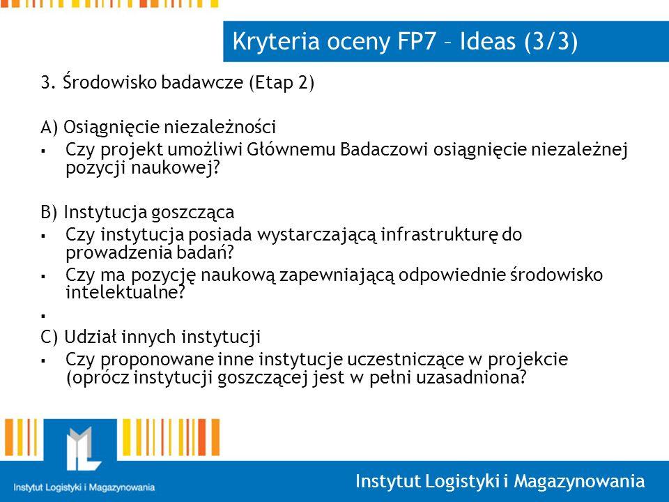Kryteria oceny FP7 – Ideas (3/3)