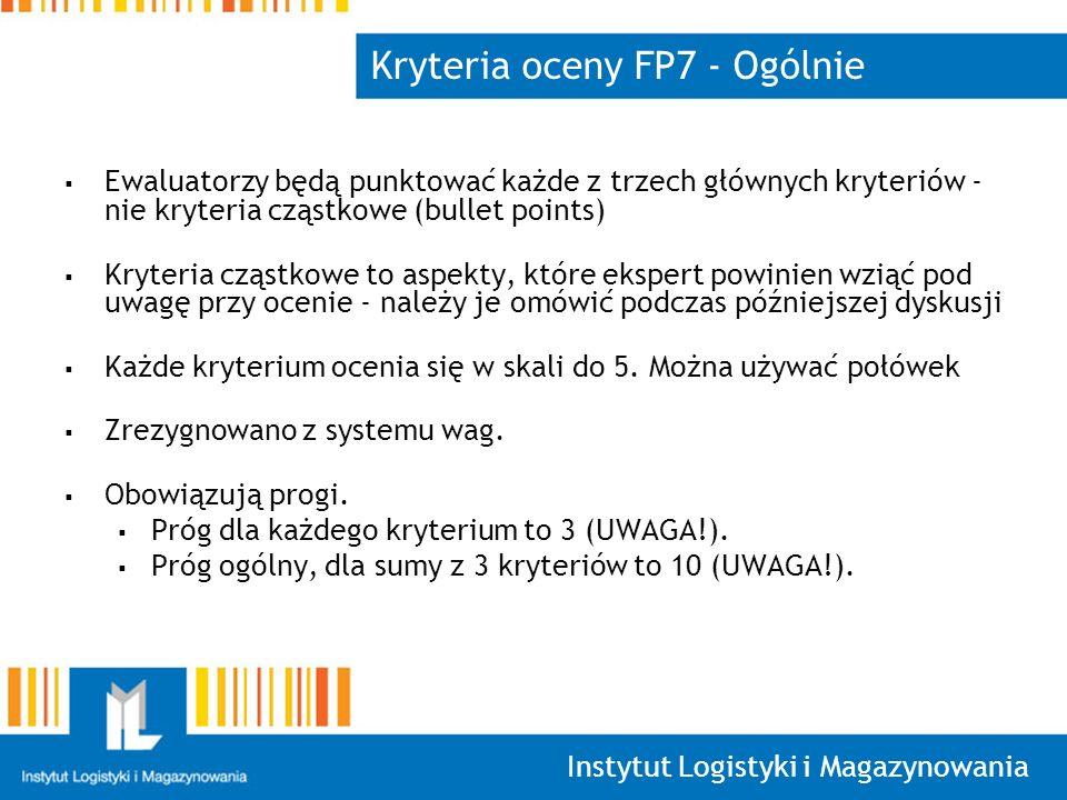 Kryteria oceny FP7 - Ogólnie