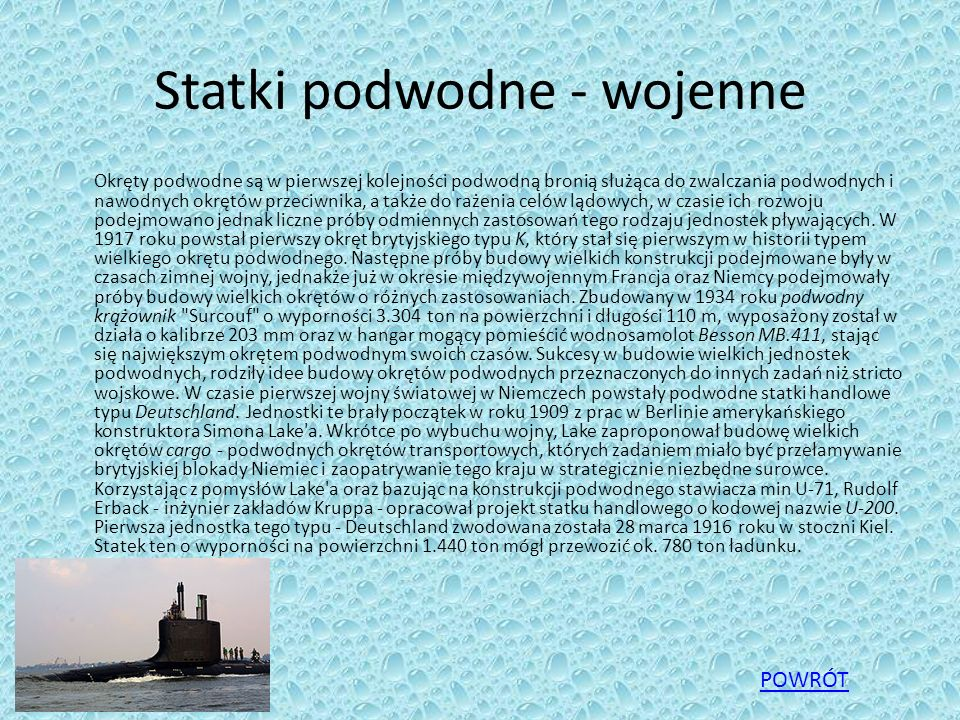 Statki podwodne - wojenne