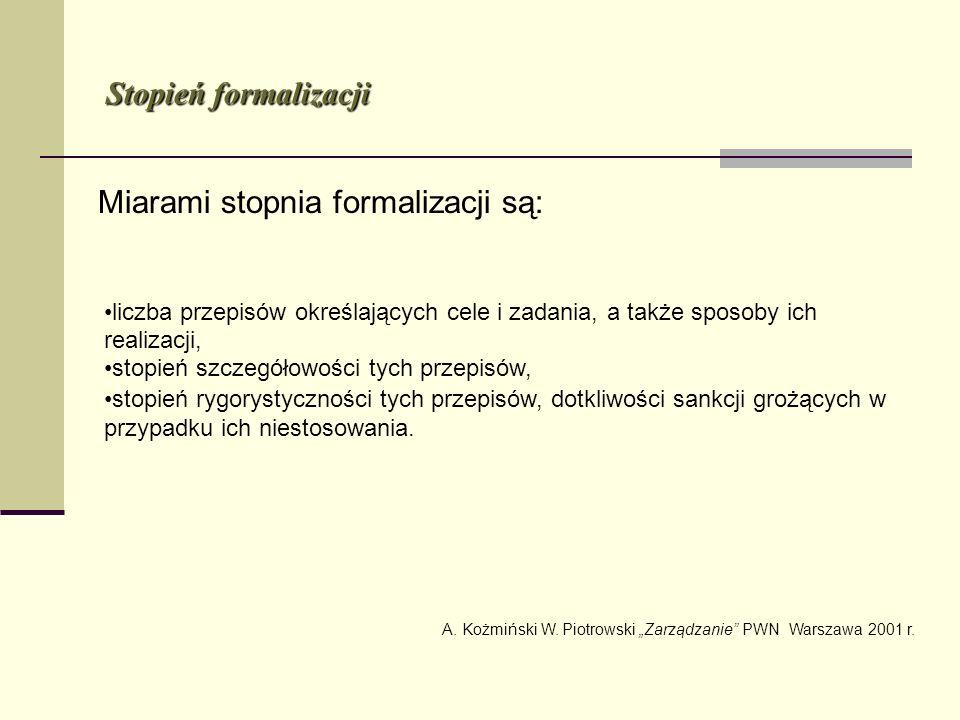 Miarami stopnia formalizacji są: