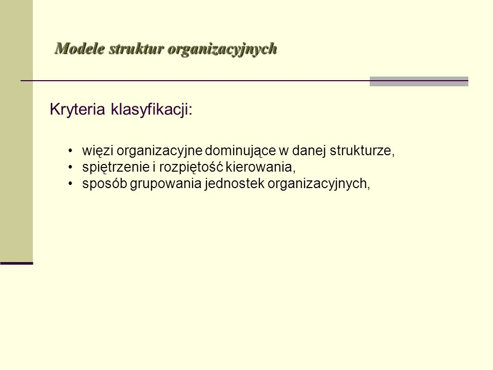 Kryteria klasyfikacji: