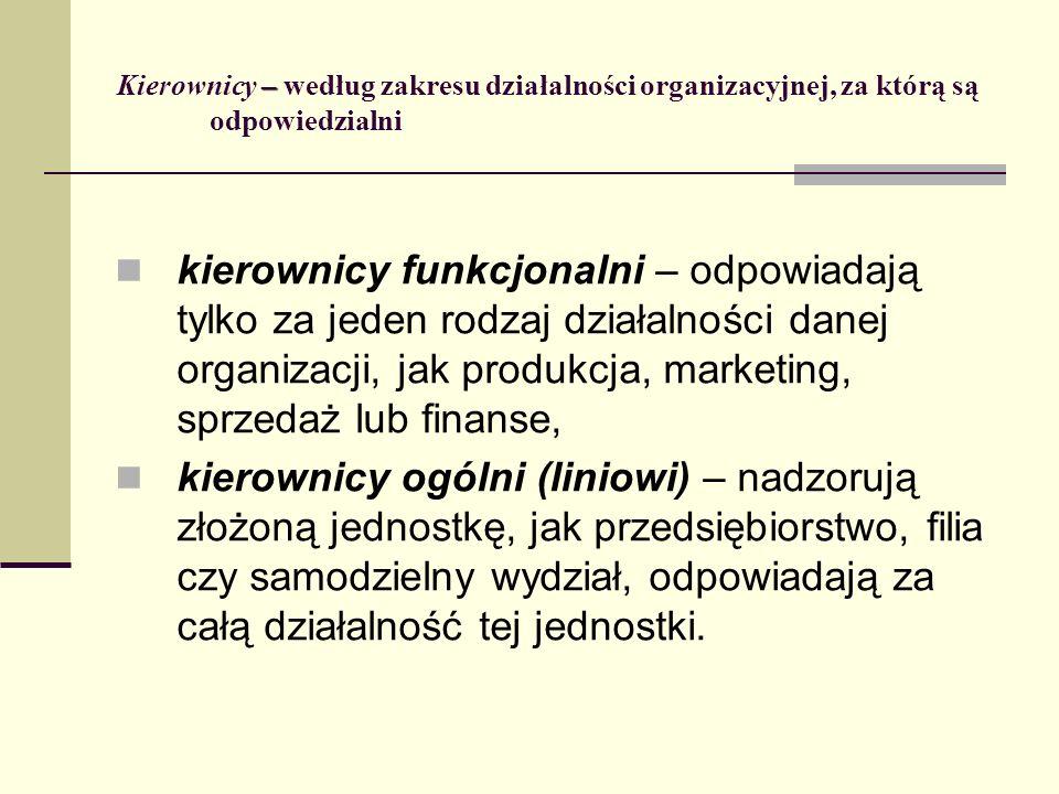 Kierownicy – według zakresu działalności organizacyjnej, za którą są odpowiedzialni
