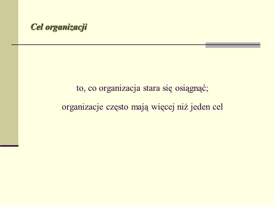 Cel organizacji to, co organizacja stara się osiągnąć; organizacje często mają więcej niż jeden cel