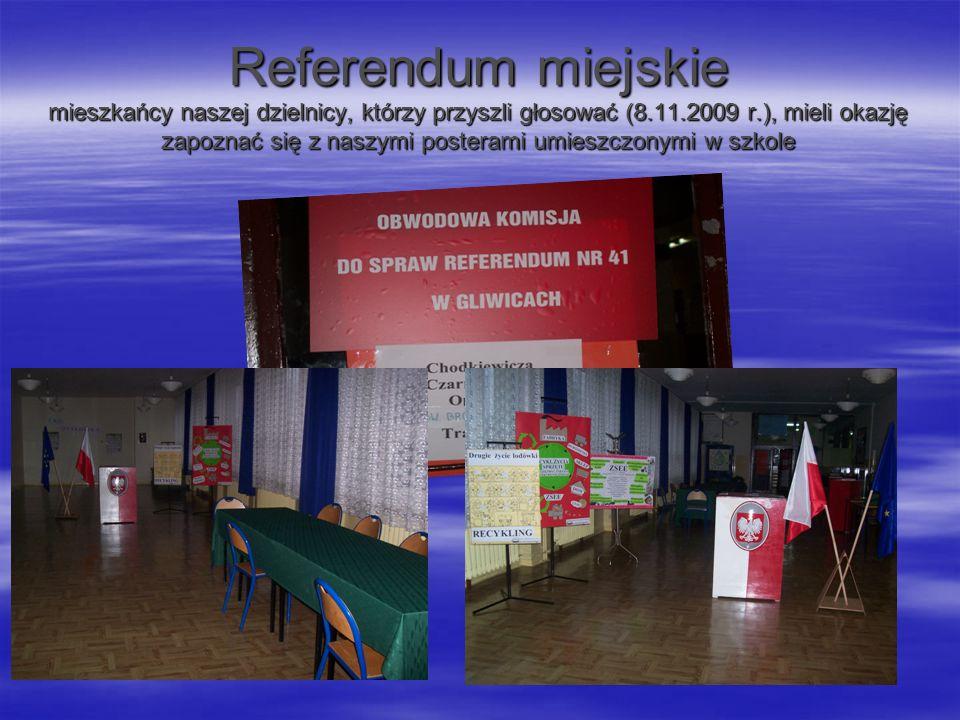 Referendum miejskie mieszkańcy naszej dzielnicy, którzy przyszli głosować (8.11.2009 r.), mieli okazję zapoznać się z naszymi posterami umieszczonymi w szkole