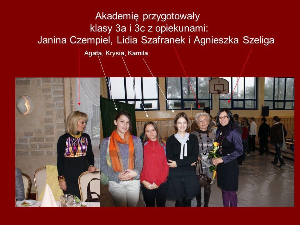Akademię przygotowały klasy 3a i 3c z opiekunami: Janina Czempiel, Lidia Szafranek i Agnieszka Szeliga Agata, Krysia, Kamila