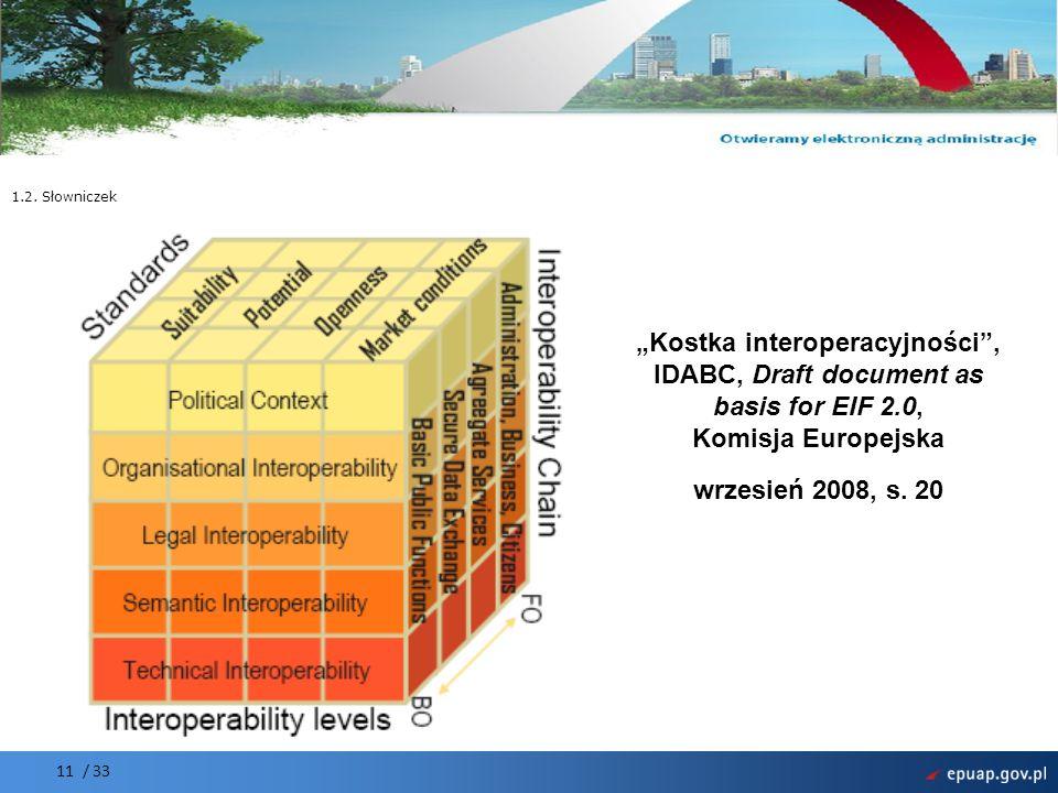 """1.2. Słowniczek """"Kostka interoperacyjności , IDABC, Draft document as basis for EIF 2.0, Komisja Europejska wrzesień 2008, s. 20."""