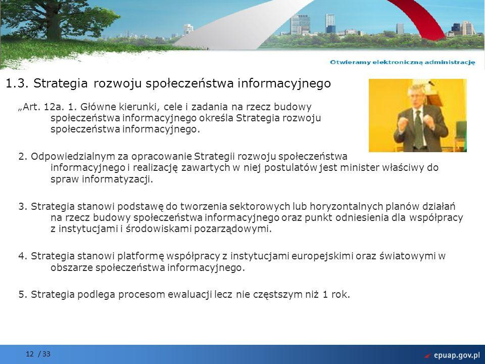 1.3. Strategia rozwoju społeczeństwa informacyjnego
