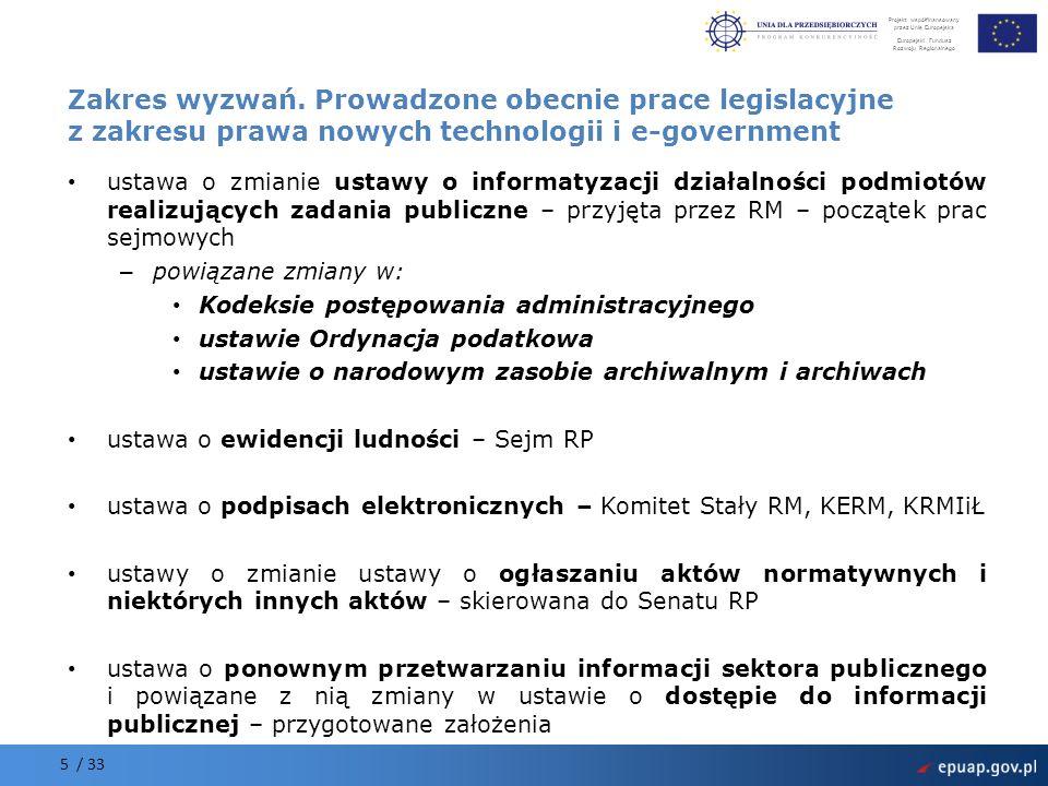 Zakres wyzwań. Prowadzone obecnie prace legislacyjne z zakresu prawa nowych technologii i e-government