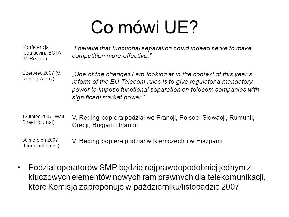 Co mówi UE Konferencja regulacyjna ECTA (V. Reding) I believe that functional separation could indeed serve to make competition more effective.