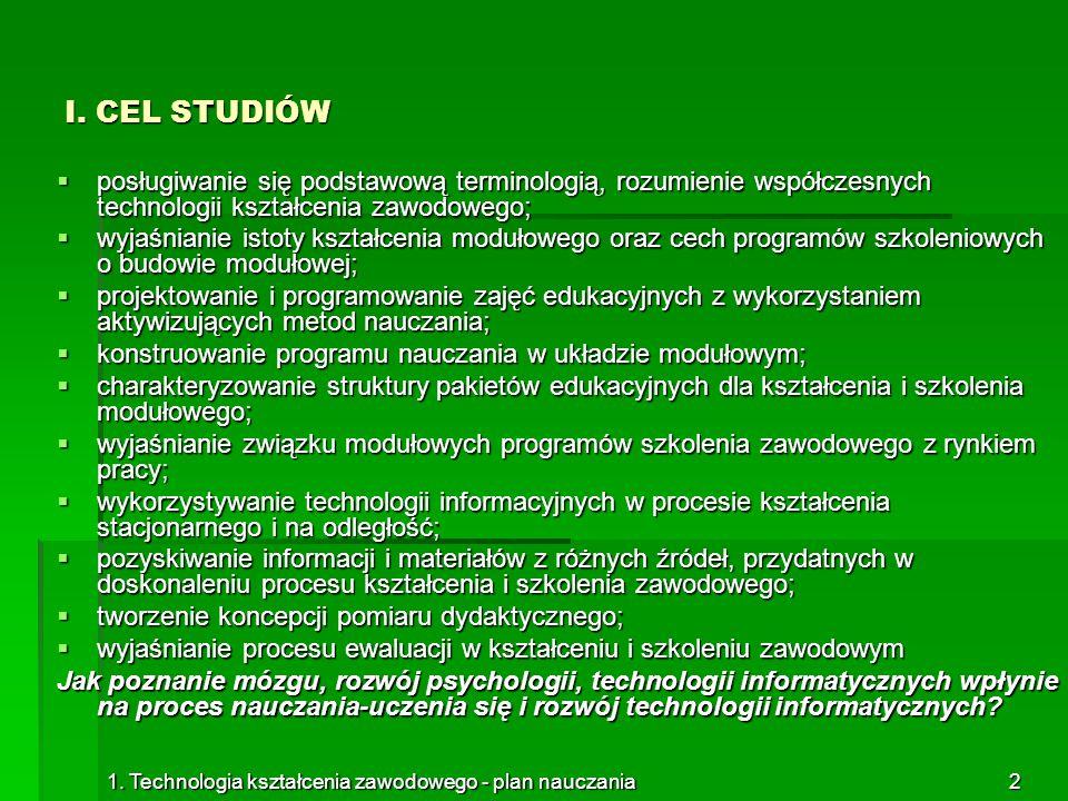 I. CEL STUDIÓW posługiwanie się podstawową terminologią, rozumienie współczesnych technologii kształcenia zawodowego;