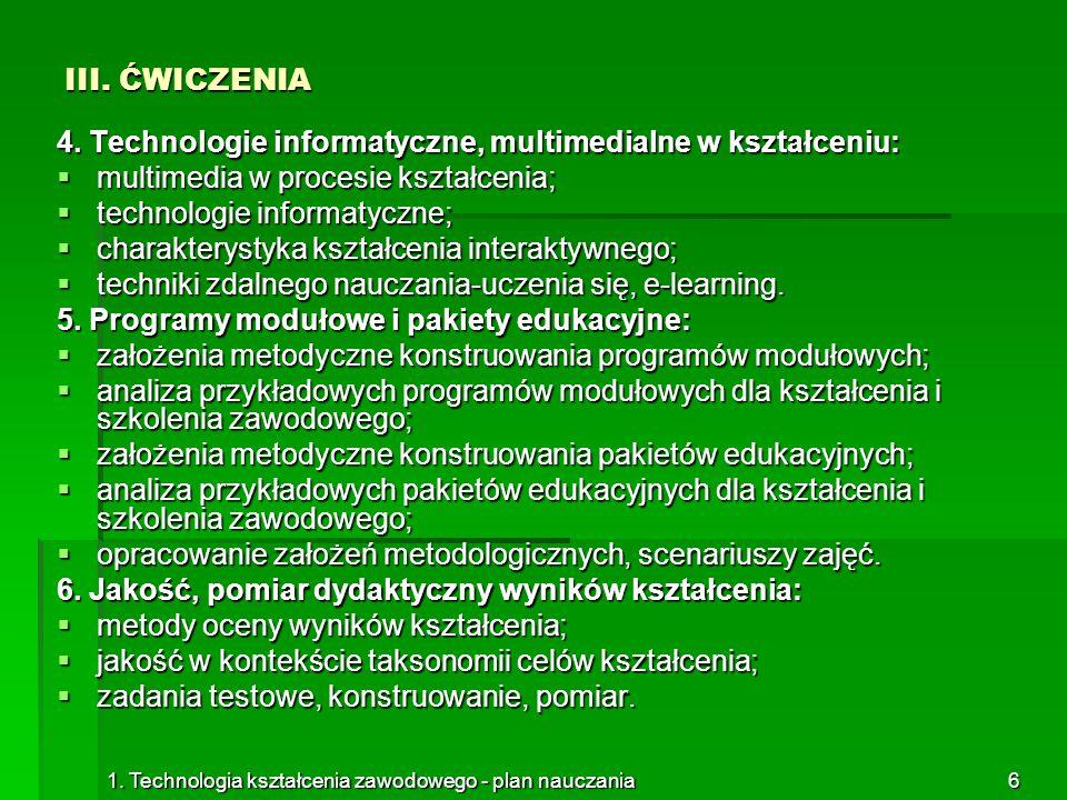 4. Technologie informatyczne, multimedialne w kształceniu: