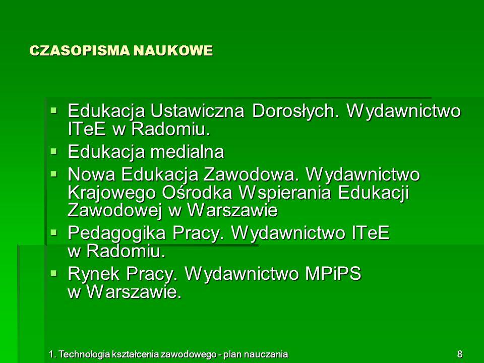 Edukacja Ustawiczna Dorosłych. Wydawnictwo ITeE w Radomiu.