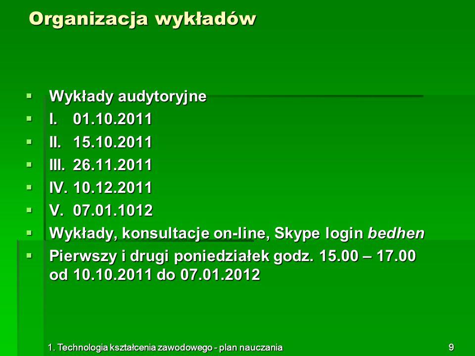 Organizacja wykładów Wykłady audytoryjne I. 01.10.2011 II. 15.10.2011