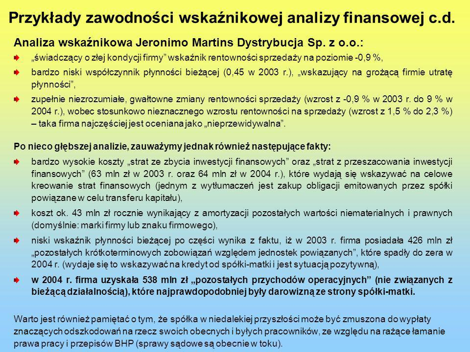 Przykłady zawodności wskaźnikowej analizy finansowej c.d.