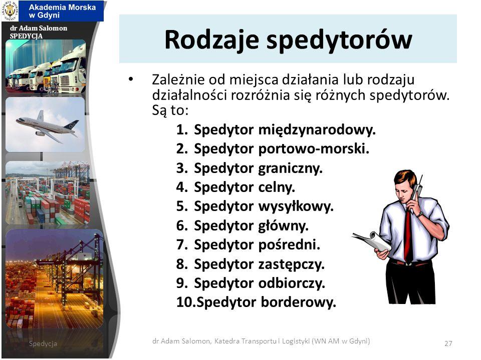dr Adam Salomon, Katedra Transportu i Logistyki (WN AM w Gdyni)