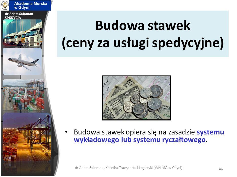 Budowa stawek (ceny za usługi spedycyjne)