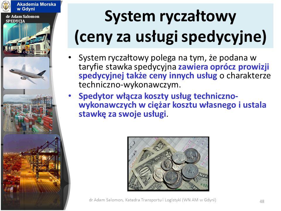 System ryczałtowy (ceny za usługi spedycyjne)