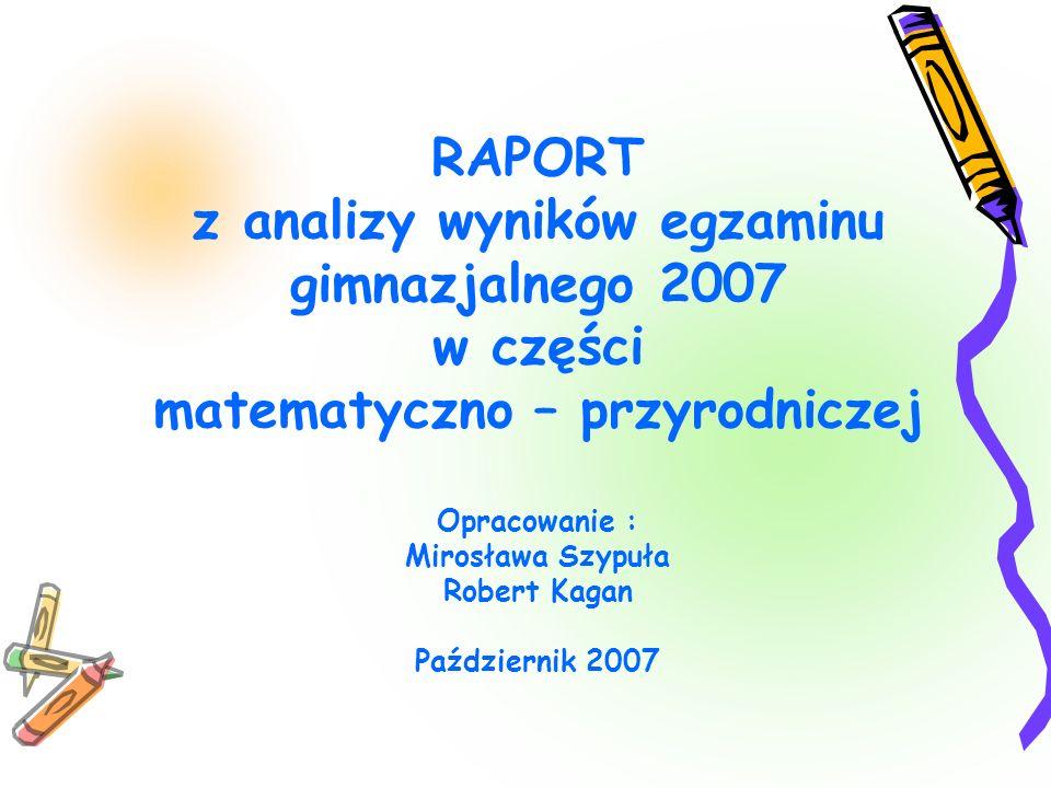 RAPORT z analizy wyników egzaminu gimnazjalnego 2007 w części matematyczno – przyrodniczej Opracowanie : Mirosława Szypuła Robert Kagan Październik 2007