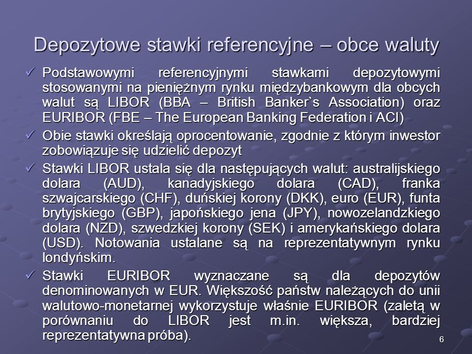Depozytowe stawki referencyjne – obce waluty