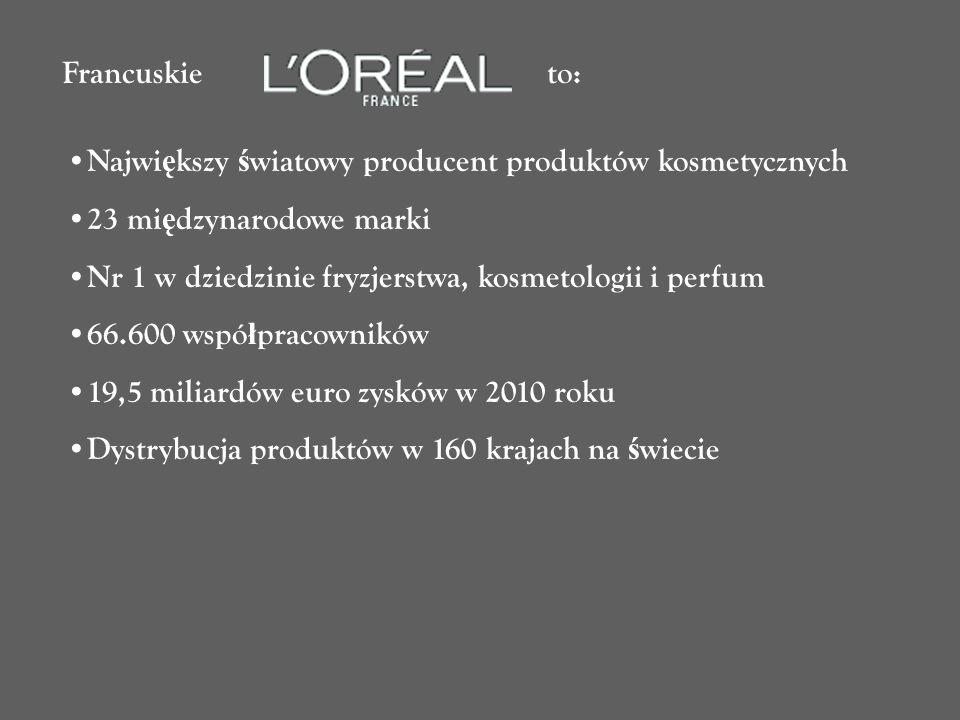 Francuskie to: Największy światowy producent produktów kosmetycznych. 23 międzynarodowe marki.