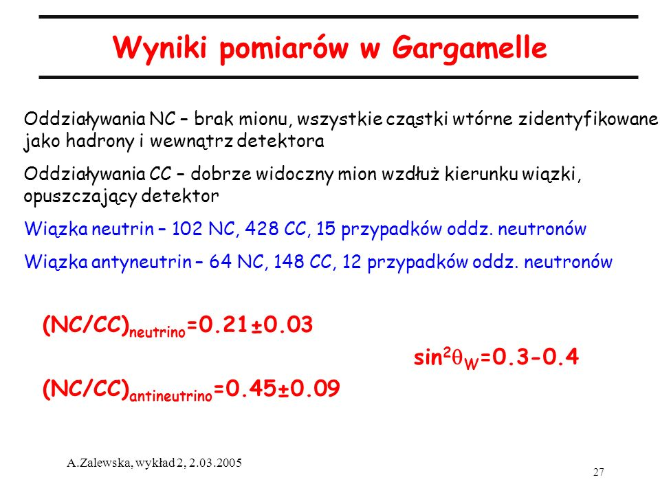 Wyniki pomiarów w Gargamelle