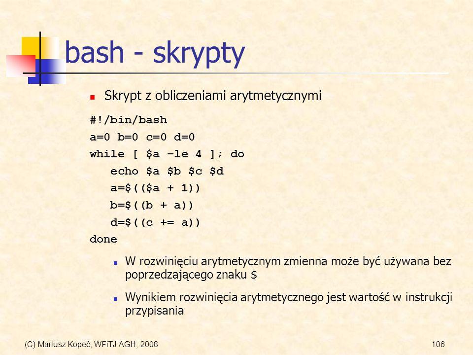 bash - skrypty Skrypt z obliczeniami arytmetycznymi #!/bin/bash