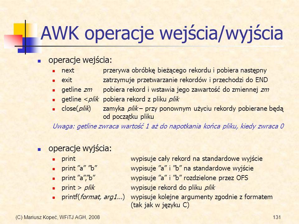 AWK operacje wejścia/wyjścia