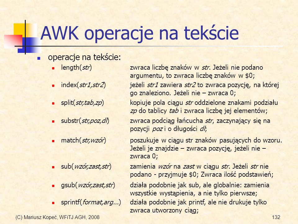 AWK operacje na tekście