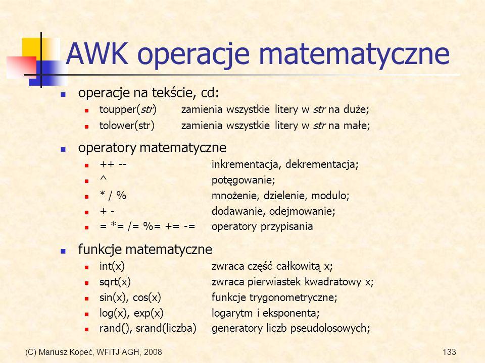 AWK operacje matematyczne