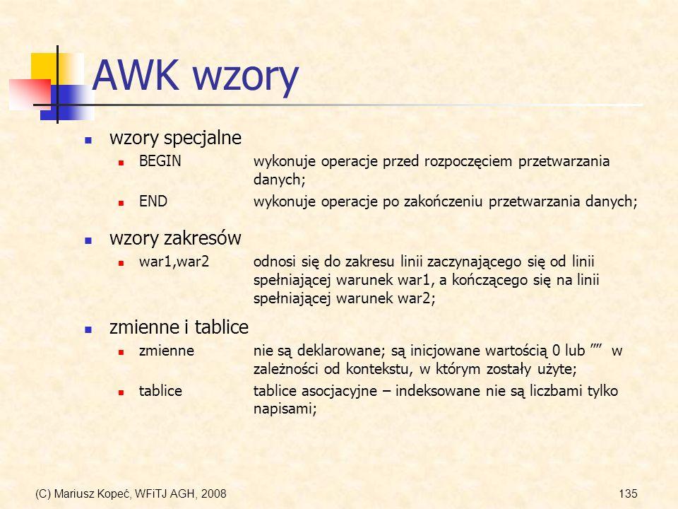 AWK wzory wzory specjalne wzory zakresów zmienne i tablice
