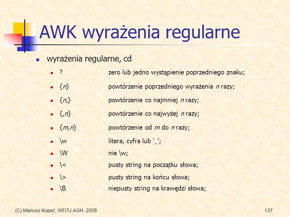 AWK wyrażenia regularne