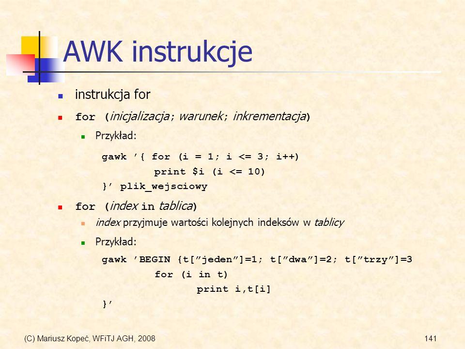 AWK instrukcje instrukcja for